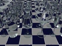Vetri della bevanda sulle mattonelle - 3D illustrazione di stock