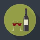 Vetri della bottiglia di vino e di vino di vetro del tintinnio royalty illustrazione gratis