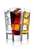Vetri della cola e dell'acqua frizzante della bevanda di energia Immagini Stock Libere da Diritti