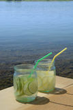 Vetri della limonata della calce Fotografie Stock Libere da Diritti