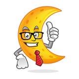 Vetri della mascotte della luna dell'uomo d'affari e legame d'uso, carattere della luna, Fotografia Stock Libera da Diritti
