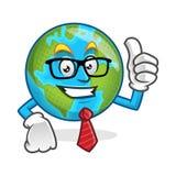 Vetri della mascotte della terra dell'uomo d'affari e legame d'uso, characte della terra Fotografie Stock