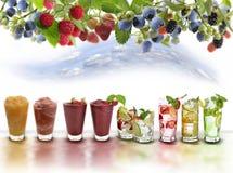 Assortimento delle bevande di frutta Immagine Stock Libera da Diritti