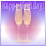 Vetri di buon compleanno di champagne Fotografia Stock