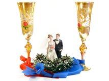 Vetri di cerimonia nuziale, lo sposo e la sposa, bambole Fotografia Stock Libera da Diritti