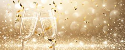 Vetri di champagne con i coriandoli Fotografia Stock