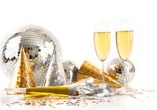 Vetri di Champagne e sfera della discoteca Immagine Stock Libera da Diritti
