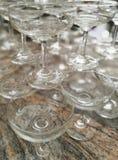 Vetri di Champagne impilati Immagini Stock Libere da Diritti