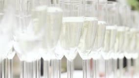 Vetri di champagne pronti per una celebrazione video d archivio