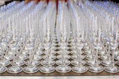 Vetri di Champagne in una riga Immagine Stock Libera da Diritti