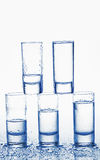 Vetri di colpo di vodka Fotografia Stock