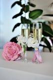 Vetri di nozze con champagne Fotografie Stock