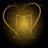 Vetri di nozze con cuore nel colore dell'oro Fotografia Stock Libera da Diritti
