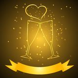Vetri di nozze con il nastro nel colore dell'oro Immagine Stock Libera da Diritti