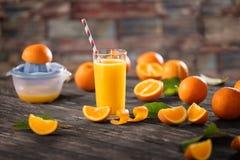 Vetri di succo d'arancia organico fresco e di frutta fresca Fotografia Stock