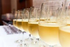 Vetri di vino bianco sul contatore della barra Immagine Stock