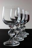 Vetri di vino con la riflessione completa Fotografia Stock