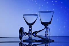 Vetri di vino davanti al cielo stellato Fotografia Stock