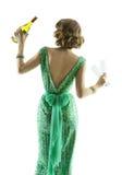Vetri di vino del champagne della donna, partito elegante di celebrazione di signora Fotografia Stock
