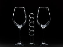 Vetri di vino e Dildo Fotografia Stock