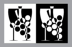 Vetri di vino e segno del botlle (vettore, CMYK) Immagine Stock
