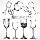 Vetri di vino - illustrazione di schizzo Fotografie Stock