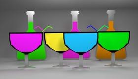 Vetri di vino luminosi piani con le bottiglie Immagine Stock