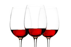 Vetri di vino rosso isolati su bianco Fotografia Stock Libera da Diritti