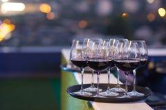 Vetri di vino rosso sul vassoio nero Immagini Stock