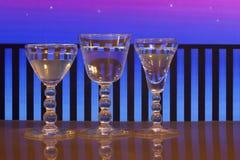 Vetri di vino sul balcone Immagini Stock Libere da Diritti