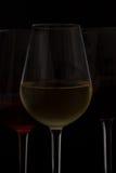 Vetri di vino sul nero Immagini Stock Libere da Diritti