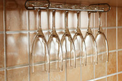 Vetri di vino vuoti Fotografie Stock
