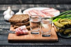 Vetri di vodka fredda con il vario spuntino tradizionale Fotografia Stock Libera da Diritti