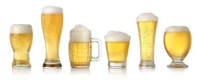 Vetri differenti della birra chiara fredda fotografia stock libera da diritti