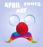 Vetri divertenti di April Fools Day e baffi variopinti Fotografie Stock Libere da Diritti
