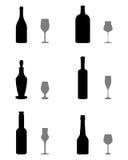 Vetri e bottiglie Immagine Stock
