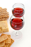 Vetri e formaggio di vino Fotografia Stock