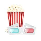 Vetri e popcorn di film isolati su bianco Fotografie Stock