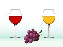 Vetri ed uva di vino Fotografie Stock