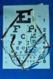 Vetri per migliorare la tavola del controllo di visione e di visione immagini stock libere da diritti