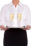 Vetri serventi della cameriera di bar di Champagne Immagine Stock Libera da Diritti