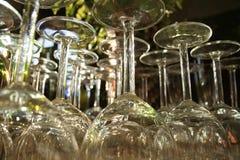 Vetri upside-down in un ristorante Fotografia Stock