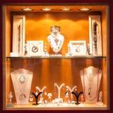 Vetrina con gioielli Fotografie Stock