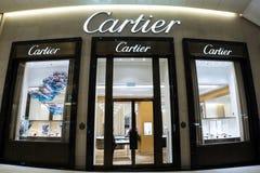 Vetrina del boutique della casa di moda di Cartier Hon Kong Fotografie Stock