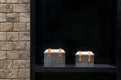 Vetrina del contenitore domestico di metallo della decorazione sugli scaffali in roo vivente moderno Fotografie Stock