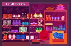 Vetrina del negozio con gli elementi domestici della decorazione illustrazione di stock
