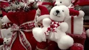 Vetrina dell'esposizione del regalo di Natale stock footage