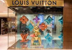 Vetrina della marca famosa Louis Vuitton della borsa del progettista Immagine Stock