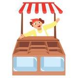 Vetrine del negozio con il venditore, deposito Immagini Stock Libere da Diritti