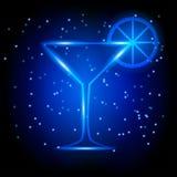Vetro al neon di martini Immagini Stock Libere da Diritti